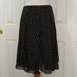 WHBM 100% silk black and beige dotted skirt size 4